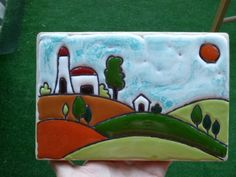 Coccolarte Bottega creativa: Ceramica: Cuerda Seca House Quilt Block, House Quilts, Clay Tiles, Ceramic Clay, Felt Embroidery, Glass House, Clay Creations, Clay Art, Fused Glass
