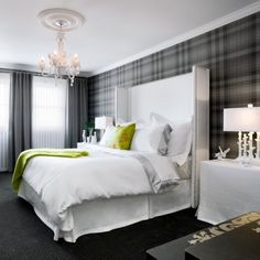 Same wallpaper for my new room, yay! Lime Green Bedrooms, Bedroom Green, Dream Bedroom, Home Bedroom, Bedroom Decor, Bedroom Ideas, Master Bedroom, Plaid Bedroom, Bedroom Inspiration