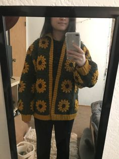 Made a sunflower cardigan! Really happy with how it turned out :) : crochet Cute Crochet, Crochet Crafts, Crochet Projects, Cardigan Pattern, Crochet Cardigan, Crochet Fashion, Diy Fashion, Sewing Clothes, Crochet Clothes