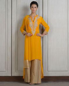 Mango Yellow Kurta Set with Resham Embroidery. Manish Malhotra