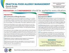Food Allergy Management Quick Guide --> PREVENTION & PREPAREDNESS