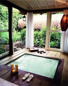 Oriental-like hot tub sunroom