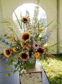 Sunflower farm-fresh venue decoration centerpiece