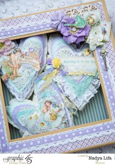 Sweet Sentiments fabric hearts in a gorgeous altered box by Nadya! Perfect for spring #graphic45