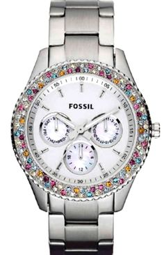 silver fossil watch BLING....can't decide if I like the silver or the pink face better....uuggghhh