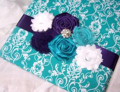 WEDDING GUEST BOOK with Photo Spot - Purple and Teal, Modern Shabby Style, Chiffon Flowers and Rosettes, Custom colors available on Etsy, $61.95 CAD