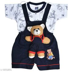Dungarees Elegant Printed Kid's Clothing Set Fabric: Cotton Hosiery Sleeves: Half Sleeves Are Included Size: Age Group (0 Months - 6 Months) - Chest-12 inShoulder-2.5 inLength-14 inSleeve Length-3 inWaist-8 in Age Group (6 Months - 12 Months) - Chest-14 inShoulder-2.5 inLength-15 inSleeve Length-3.5 inWaist-10 in Age Group (12 Months - 18 Months) - Chest-16 inShoulder-3 inLength-16 inSleeve Length-4 inWaist-12 in Age Group (18 Months - 24 Months) - Chest-18 inShoulder-3 inLength-17 inSleeve Length-4.5 inWaist-14 in Type: Stitched Description: It Has 1 Pieces Of Kid's Top & 1 Pieces Of Kid's Bottom Work: Printed Country of Origin: India Sizes Available: 0-6 Months, 6-12 Months, 9-12 Months, 12-18 Months, 18-24 Months   Catalog Rating: ★4.3 (10770)  Catalog Name: Cute Elegant Printed Kids Clothing Sets Vol 4 CatalogID_158187 C62-SC1152 Code: 143-1250266-3201