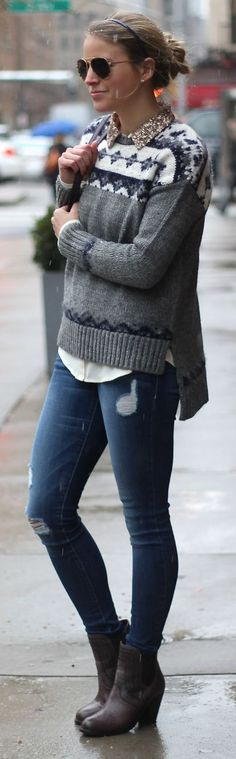 White And Grey Jacquard Sweater