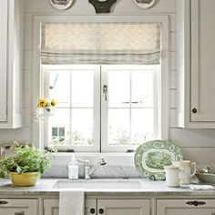 From Southern Living: As for a backsplash, wooden plank walls (instead of tile) keep the style of the room seamless and add old-fashioned charm.