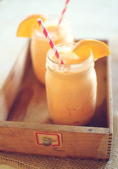 Orange Cream Cooler.  Dashing dish blog has awesome recepies for healthy shakes.  Really like this blog!