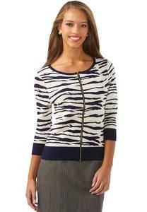 Zebra Zippered Cardigan