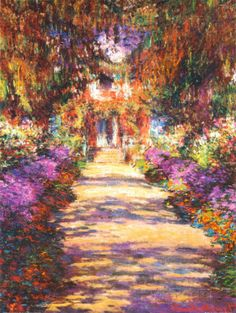 """CLAUDE MONET- Alley of the Gardens at Giverny. Monet felt that painting in """"plein air"""" or open air was the best way. You will never catch me criticizing Monet. Claude Monet, Monet Giverny, Giverny France, Monet Paintings, Landscape Paintings, Art Amour, Impressionist Paintings, Impressionist Landscape, Kandinsky"""