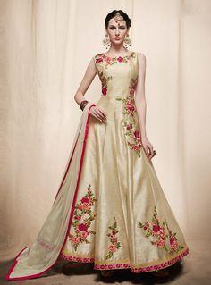 Beige Art Silk Readymade Long Anarkali Suit 91308
