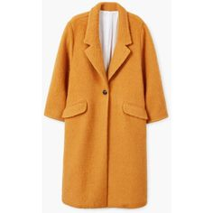 Mohair Wool-Blend Coat ($160) ❤ liked on Polyvore featuring outerwear, coats, wool blend coat, mohair coat, mango coats, fur-lined coats and yellow coat
