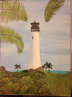 Acrylic painting. Lighthouse.