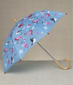 HATLEY WINTER BIRDS UMBRELLA    The ultimate birdbath.  A sturdy umbrella made just her size with Winter birdies perched every which way.  These little birds won't mind getting wet.