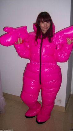 Shiny glossy nylon down suit overall winter coat expedition jacket hood wet-look Selena Gomez, Rihanna, Nylons, Puffer Jackets, Winter Jackets, Down Suit, Winter Suit, Womens Wetsuit, White Ducks