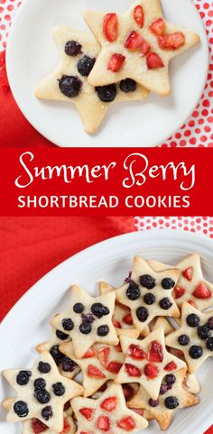 SUMMER BERRY SHORTBREAD COOKIES. These rich, buttery stars are a fusion of sandy shortbread and classic cutout cookies,  spangled with bright, juicy summer berries.