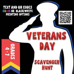 This Veterans Day activity is perfect to learn about the history of Veterans Day, the United States Military, and honor our veterans. The short pieces of nonfiction text in the Veterans Day Scavenger Hunt provide information using a fun format for students in upper elementary or middle school.