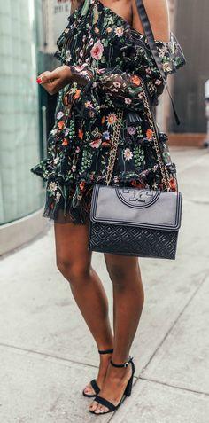 floral cold shoulder dress for spring