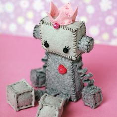 Sweet Princess Robot Plush with Crown and Heart