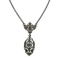 """Downton Abbey Collection NECKLACE Drop Black w/DOWNTON ABBEY Gift Box 16"""" Adj."""