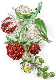 Trifari Alfred Philippe Pave and Enamel Raspberries Pin Clip