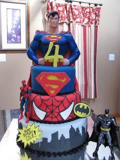 "Super Hero Cake Superman, Spiderman, Batman themed cake. superman ""S"", batman ""bat"", city skyline, birthday message &..."