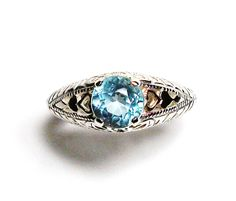 """Blue topaz, blue topaz ring, sweetheart ring, birthstone ring, solitaire ring, blue, s 6 3/4  """"Sweets for my sweet"""" by Michaelangelas on Etsy"""