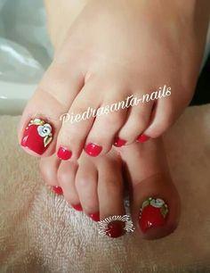Pedicure Designs, Pedicure Nail Art, Toe Nail Designs, Toe Nail Art, Manicure, Feet Nails, Toenails, Bridal Toe Nails, Beautiful Toes