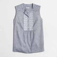 J.Crew Factory chambray tank with embellished placket ($35) ❤ liked on Polyvore featuring tops, embellished tank, chambray top, chambray tank top, j crew tank and embellished tops