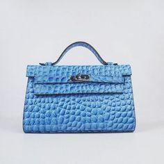 Imitation Hermes Kelly 22CM Sac à main modèle de pierre d'argent de lumière bleue | replica hermes kelly handbags | hermes borse