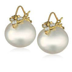 off Gabrielle Sanchez Yellow Gold, South Sea Cultured Pearl, and Diamond Flyer Earrings: Drop Earrings: Jewelry Fashion Earrings, Women's Earrings, Diamond Earrings, Pearl Jewelry, Jewelery, Emerald Ring Vintage, Art Ancien, Summer Bracelets, Cultured Pearls