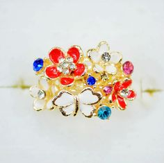 Free shipping and no min order! 2014 designer gold plated flower rings colourful with crystal for women $3.77