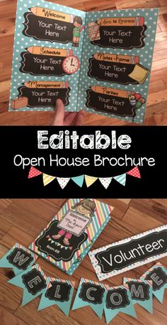 """Open House or Back to School night brochures that are EDITABLE! Type out everything parents need to know about you and your classroom.  Use them year after year, plus the """"Welcome"""" banner is a FREE download!! Teacher freebies to get you excited to meet your new students."""
