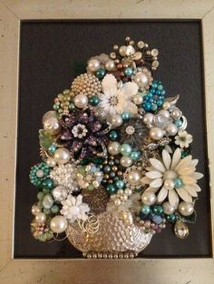 Vintage Jewelry Art Framed Not Christmas Tree Floral ** Think SPRING