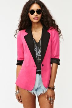 Pink jacket with shorts outfit