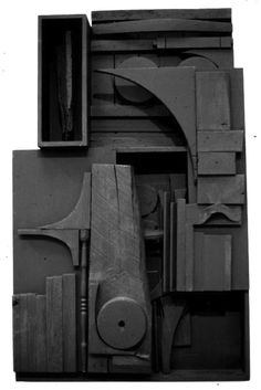 Untitled by Louise Nevelson (circa Lesson. The first Louise Nevelson work I ever saw was a small black piece similar to this. I had never seen abstract sculpture made in re-claimed materials before. I was fascinated with her work and have been ever since. Modern Sculpture, Abstract Sculpture, Sculpture Art, Abstract Art, Visual Art Lessons, Louise Nevelson, Found Art, Art Moderne, Inspiration Wall