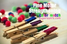 This Fine Motor Strengthening activity acts as a pre-handwriting warm-up exercise...combining color matching with #handstrengthening and bilateral hand coordination. By #TheSugarAunts