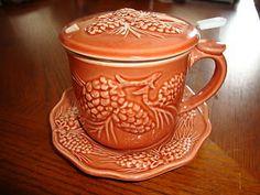 New Darling Pinecone Brown Ceramic Mug Tea Strainer Lid and Saucer Nice Gift | eBay