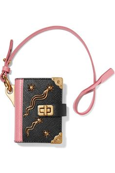 Black and pink textured-leather (Calf) Clasp fastening Made in Italy