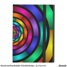 Round and Psychedelic Colorful Modern Fractal Art Case For iPad Air