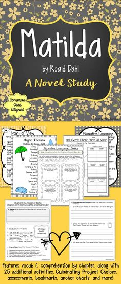 This 136-page novel study for Matilda by Roald Dahl contains comprehension for every two chapters, along with everything else you need to teach Common Core standards through a mystical and exciting story. This study is laid out for you in a way that pushes students to not only become better readers and writers, but to also gain a deep understanding of major Common Core standards. You will find this unit easy to use, with very little prep needed.