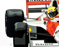 Senna – handcut vinyl artwork by Joel Clark Copic, Aryton Senna, San Marino Grand Prix, Car Drawings, Automotive Art, Car Painting, Illustration Sketches, Vintage Racing, Vinyl Art