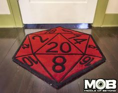 Here's a great addition for your game room. Made by Middle of Beyond, the Critical Hit rug looks like a die. It's handmade and comes in two sizes: 60 x 48 and 30 x Roll a browser or higher and head to Middle of Beyond to pre-order the Critical Hit rug. Nerd Room, Nerd Cave, Geek Decor, Small Rugs, Magic The Gathering, Carpet Runner, Throw Rugs, Game Room, Decir No