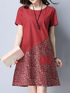 Floral Patchwork Pocket Short Sleeve O Neck Women Dresses - 옷 . - Floral Patchwork Pocket Short Sleeve O Neck Women Dresses – 옷 - Simple Dresses, Casual Dresses, Short Sleeve Dresses, Summer Dresses, Dresses Dresses, Cheap Dresses, Loose Dresses, Long Sleeve, 1950s Dresses