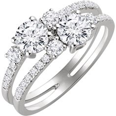 2day ~ 2moro ~ 2gether... Two-Stone Ring in 14K White Gold set with 1-1/3 carats total in diamonds (compare to Ever Us). Also available in yellow gold or rose gold. Ref# STU-652209. Goldex Fine Jewelry ~ (323) 726-7181.