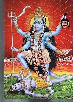 Maa Kali Images, Durga Images, Kali Shiva, Kali Mata, Indian Goddess Kali, Goddess Lakshmi, Mother Kali, Divine Mother, Unique Poster
