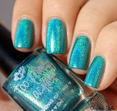 Image of Keep Calm and Be Fancy - blue teal linear holographic polish (12ml)