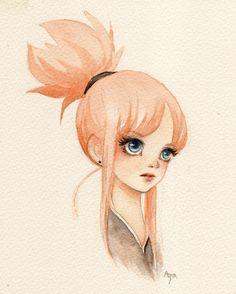 2014/Feb/07 Samurai girl haha :) Watercolor on Waterford(cold press)